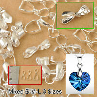Jewelry Findings 925 Silver Bail Connector Bale Pinch Clasp 120PC Mix Size S-M-L
