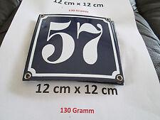 Hausnummer Nr. 57 weisse Zahl auf blauem Hintergrund 12 cm x 12 cm Emaille