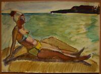 Russian Ukrainian Soviet Painting postimpressionism female figure nude beach