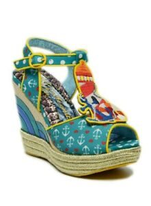 Irregular Choice Women's Round The Twist Sailor-Themed Wedge Platform Sandals