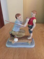 Norman Rockwell Porcelain Figurine - Father and Son Fishing
