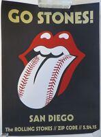 ROLLING STONES Concert Poster Zip Code 5/24/15 San Diego Silkscreen 18 x 24 VIP