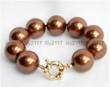 Genuine Natural Brown 12mm shells Pearl Round Beads bracelet 7.5 inches