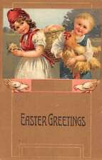 easter children and rooster  L4860 antique postcard