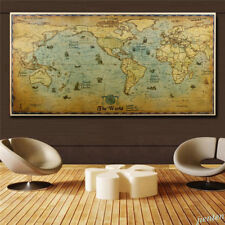 Vintage World Map Home Decor Detailed Poster Wall Chart Retro Matte Kraft Paper