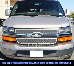 Fits 2003-2020 Chevy Express Van Main Upper Stainless Steel Chrome Mesh Grille