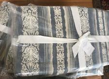 Pottery Barn Montauk Quilt Set Blue Queen 2 Standard Shams Jacquard Coverlet New