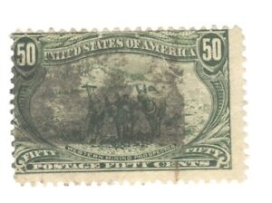 Scott 291 Early US Stamp.50c Trans Mississippi... 1898... Heavy Cancel