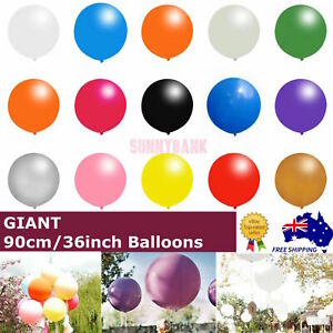 "90cm Giant Large Jumbo Latex Balloons Round Helium Birthday Wedding Party 36"" AU"