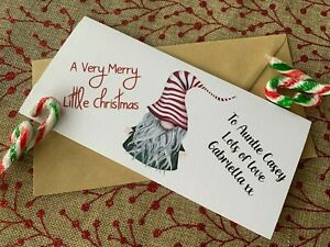 Personalised Rustic/Retro Christmas Money/Gift Voucher/Card/Wallet Green Gnome
