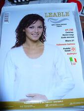 3 maglia camiciola LEABLE cotone caldo manica lunga Tg 4 bianco scollo macramè