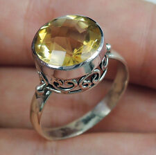 CITRINE & 925 STERLING SILVER RING JEWELLERY, SIZE P-UK, 8-USA