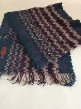Missoni Wool Scarf Zig Zag Teal Blue Purple Pink Fringe Unisex Italy Large Long