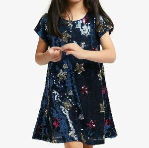 John Lewis & Partners Girls' Sequin Star Dress / Navy 10 Years New Free P&P