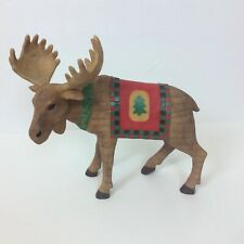 "Moose Figurine Statue Christmas Wreath Tree Blanket Holiday 8.5"" L x 6.25"" H"