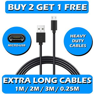 Heavy Duty Micro USB Charger Charging Lead Data Long Phone Cable 0.25M To 3M