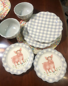 The Pioneer Woman Gingham Grey Pig 6 Piece NEW Dinnerware Set