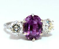 GIA Certified 3.37ct Natural Purple Pink Sapphire Diamonds Ring 18kt Classic-3