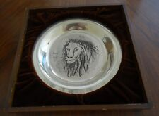 1974 Bernard Buffet Limited Edition Lion Sterling Silver Plate in Fitted Frame
