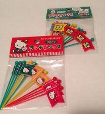 Sanrio Vtg Hello Kitty Keroppi 24 Cupcake Party Flag Picks 1995 Japan NEW RARE