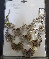 NEW Unique Beautiful Breast Plate Style Necklace Gold Tone Butterflies w/ Beads