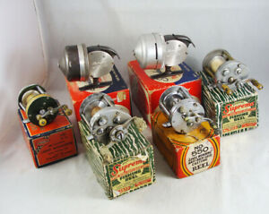 6 Old Vintage Casting Reels + Boxes - SHAKESPEARE - PFLUEGER - SOUTH BEND