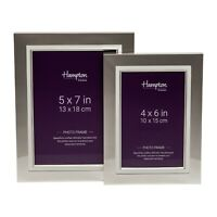 Silver Frame With White Inlay 4x6 5x7 Photo Picture Display Frame Home Office