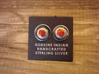 Native American Jewelry Sterling Silver Red Oval Opal Post Earrings! Zuni Indian