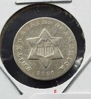 1851 O 3c Silver Three Cent Silver Star US Coin XF / AU Details REV Rim Nick
