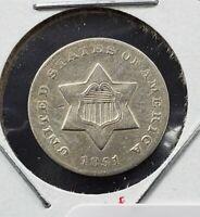 1851 O 3c Silver Three Cent Silver Star US Coin XF / AU Details REV Rim Nick