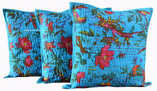 "CUSHION COVER ETHNIC DECOR ART SET OF 3 TURQUOISE HANDMADE 16X16"" KANTHA WORK"