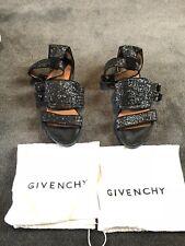 Givenchy Virginia Black Glitter Sandal Size 39