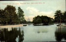 Philadelphia USA postcard ~1910/20 Centennial Lake and Island Fairmount Park See