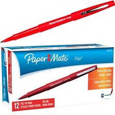 Paper Mate Flair Felt Tip Pen, Red Ink, Medium Point, 8420152, Box of 12