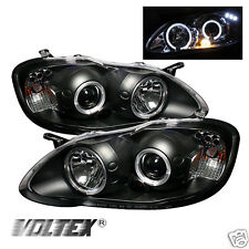 2003-2008 TOYOTA COROLLA HALO LED PROJECTOR HEADLIGHTS LIGHTBAR LIGHT BLACK