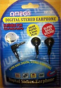 SUPER BASS DIGITAL STEREO EARPHONE OMEGA FOR MP3 CD 3.5mm JACK HEADPHONE