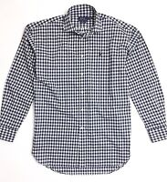 Ralph Lauren Women's Shirt Oversize Boyfriend Fit Poplin Navy Blue Gingham Check