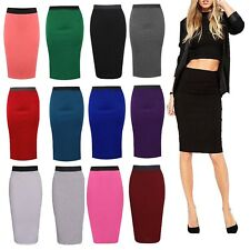 Womens Stretch Ladies Plain Pencil Tube Long Office Midi Skirt Plus Size Wiggle