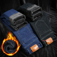 Mens Winter Thermal Jeans Fleece Lined Denim Pant Thick Stretch Straight Trouser