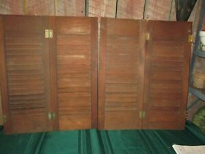 Vintage 2 Sets Interior Window Shutters stained  Wood Louver Plantation