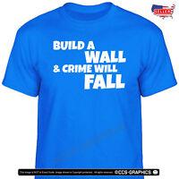 Build A Wall & Crime Will Fall T-Shirt - 5 COLORS - S - 4XL - MAGA KAG 2020