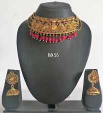 Indian Fashion Bollywood Wedding Gold Plated Jewelry Necklace Earrings Set BB 55
