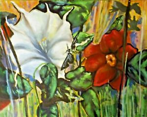 print of art painting red flower white floral expressive oil signed