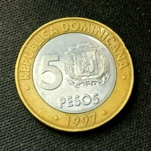 1997 Dominican Republic 5 Peso coin UNC    World Coin    Bimetallic    #K1161
