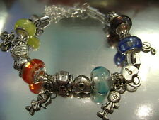 12 925 SILVER PLATED CHARMS AND ITALIAN GLASS BEAD BRACELETS ASSORTED COLORS