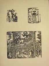 Antigua Imagen Religiosa Gótica Medieval xilografía impresión Saint en carro ~ Cross