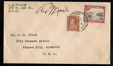 JAMAICA 1938 AIR MAIL MULTI FRANKED COVER**KINGSTON TO KANSAS CITY, MISSOURI USA