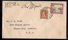 JAMAICA 1938 AIR MAIL MULTI FRANKED COVER**KINGSTON TO KANSAS CITY, MISSOURI USA