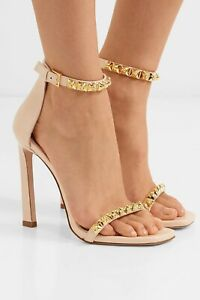 Stuart Weitzman studded 'Rosist' glossed-leather Heels Nude/rose Gold Size 4