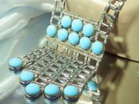 WOW WOW Art Glass Modernist Statement Silver Tone Vintage 70's Necklace 281JN0